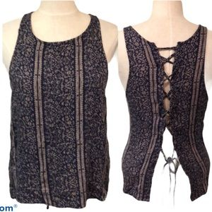 American Eagle lace up back tank